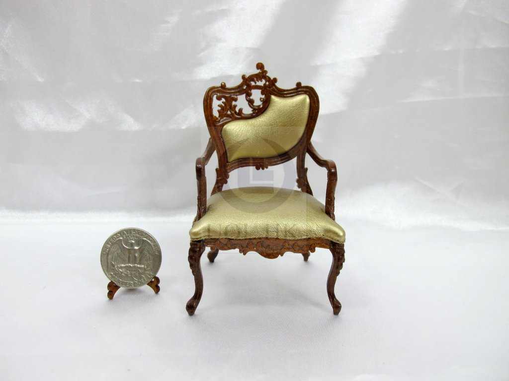 1:12 Scale Miniature Fancy Arm Chair For Doll House [Left]