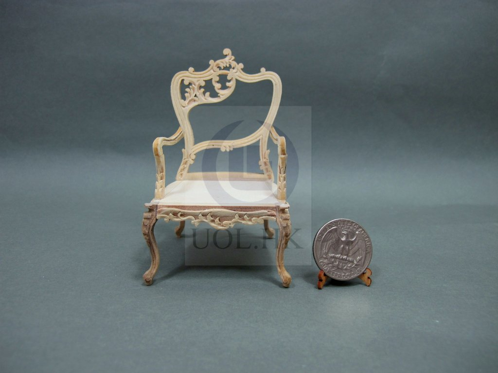 "Unfinished 1""Scale Miniature Fancy Arm Chair For Doll House-Left"