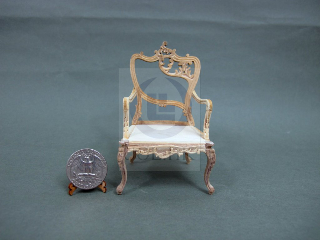 "Unfinished 1""Scale Miniature Fancy Arm Chair For Dollhouse-Right"