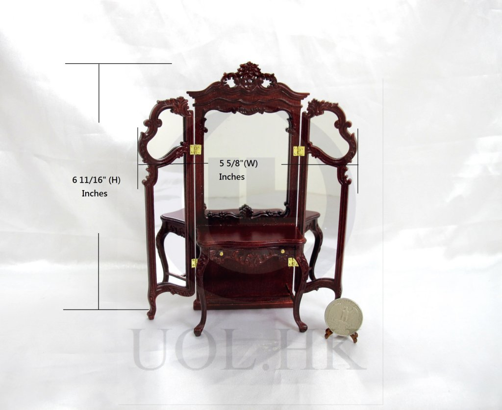 "1:12 Scale Miniature The ""Macy"" Dressing Table-Finished Mahogany"