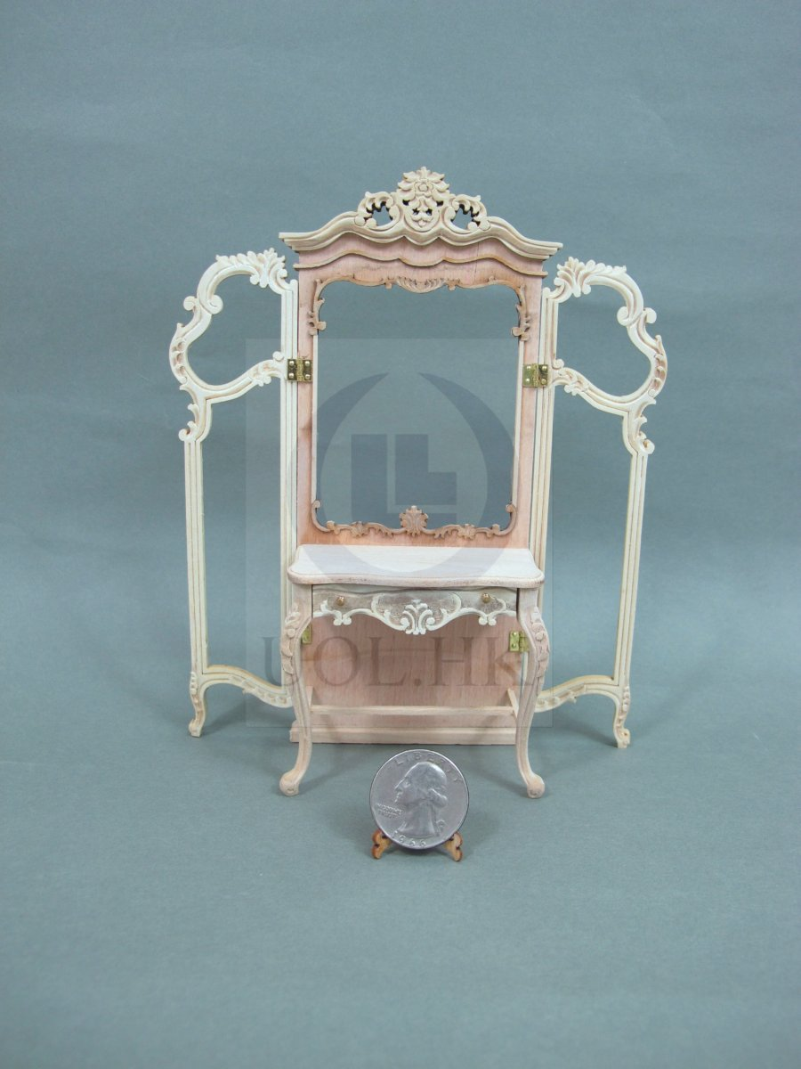 1:12 Scale Miniature Three Panels Vanity Fo Doll House-Unpainted