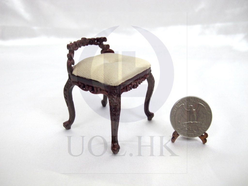 "1:12 Scale The ""Macy"" Dressing Chair For Doll House[Mahogany]"