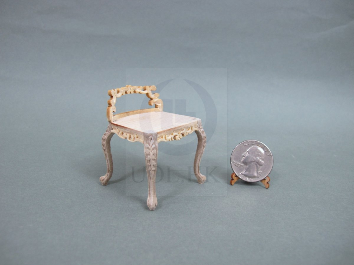 1:12 Scale Low Back Vanity Stool For Doll House [Unfinished]