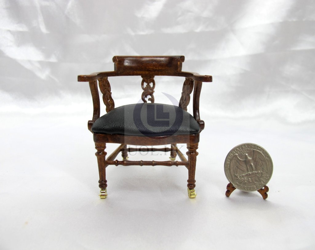 Miniature 1:12 Scale Dickens Desk Chair For Doll House