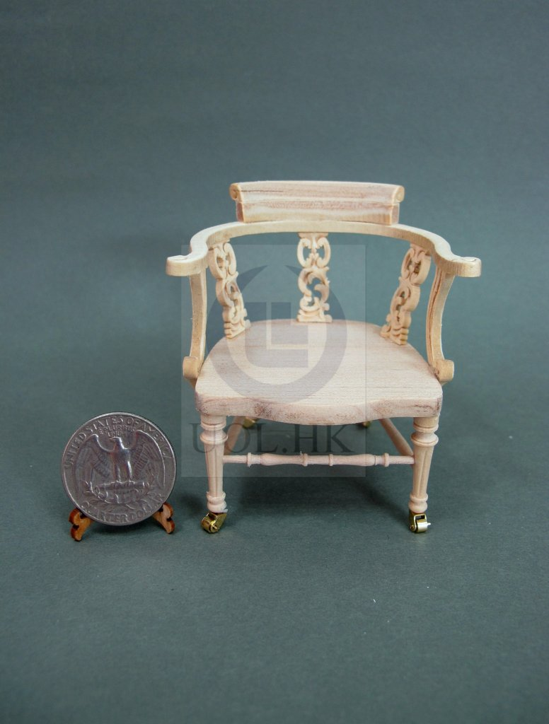 1:12 Scale Dickens Desk Chair For Doll House [Unfinished]