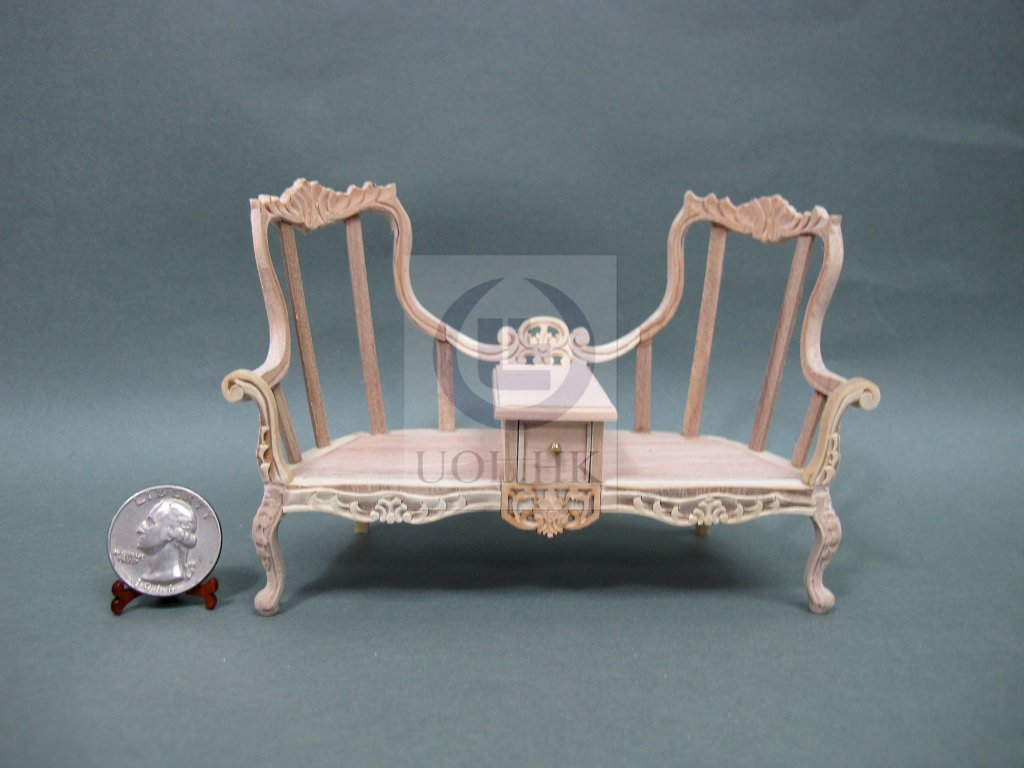1:12 Scale Love Seat With Table For Doll House[Unfinished]