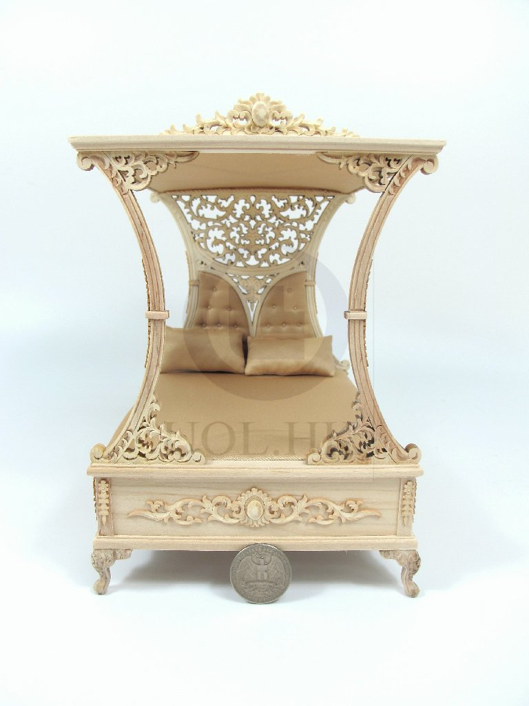 "1"" Scale Miniature Luxurious Canopy Bed For Doll House-Unpainted"