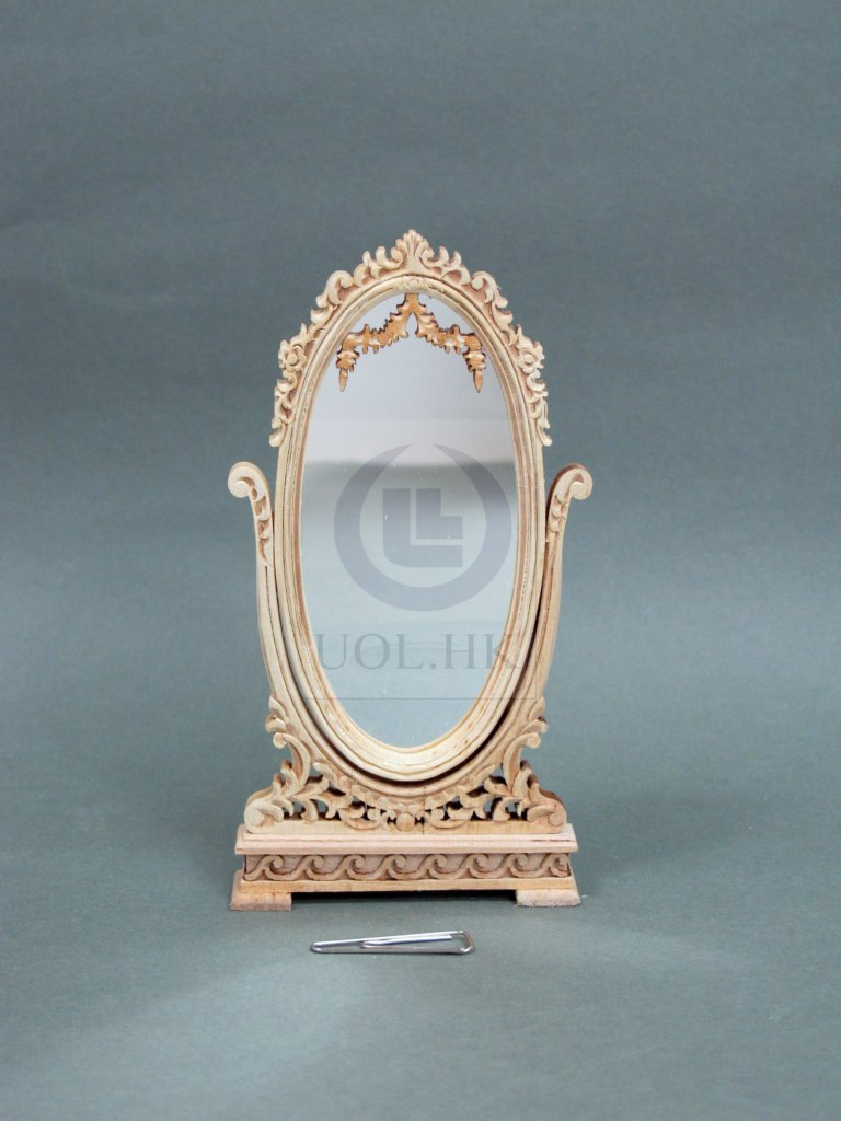 "Wooden Miniature 1"" Scale Doll House Cheval Mirror[Unpainted]"