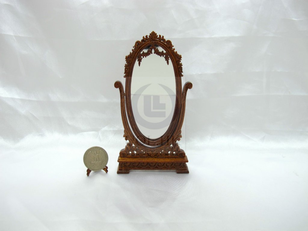 Wood Carved Miniature 1:12 Scale Doll House Cheval Mirror