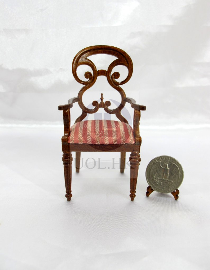 Miniature 1:12 Scale Butterfly Arm Chair For Doll House[WN]