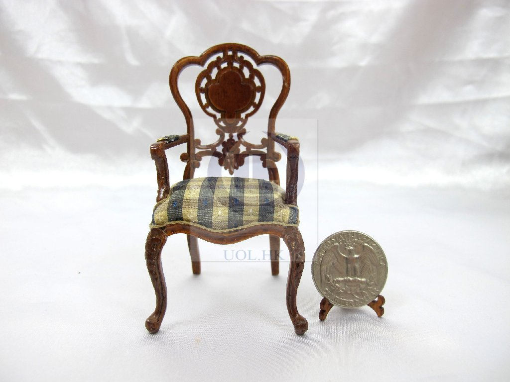 "1""Scale Extraordinary Arm Chair For Doll House Dining Room"