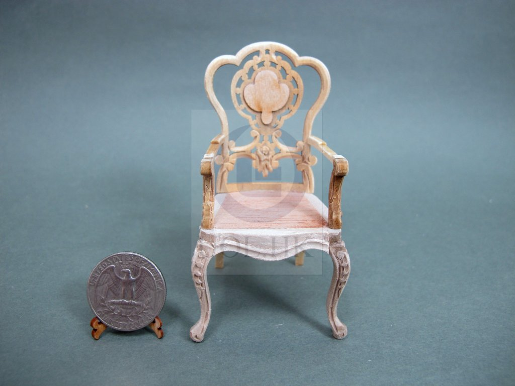 "1""Scale Miniature Dollhouse Extraordinary Arm Chair[Unpainted]"