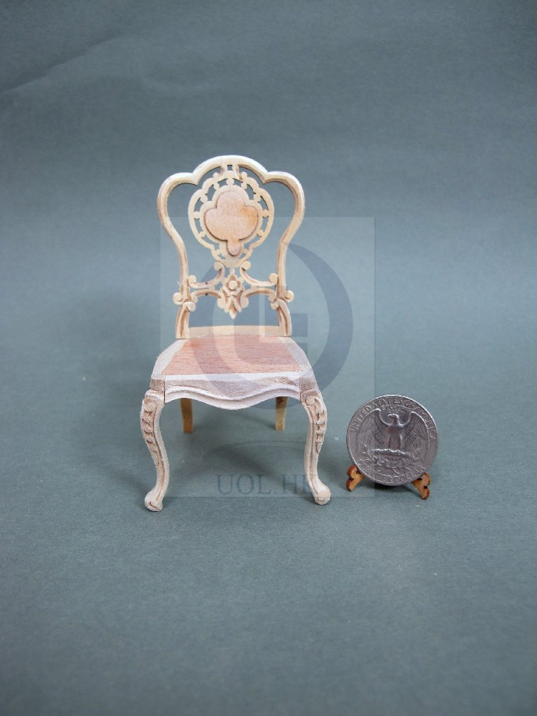 "1""Scale Miniature Dollhouse Extraordinary Side Chair[Unpainted]"
