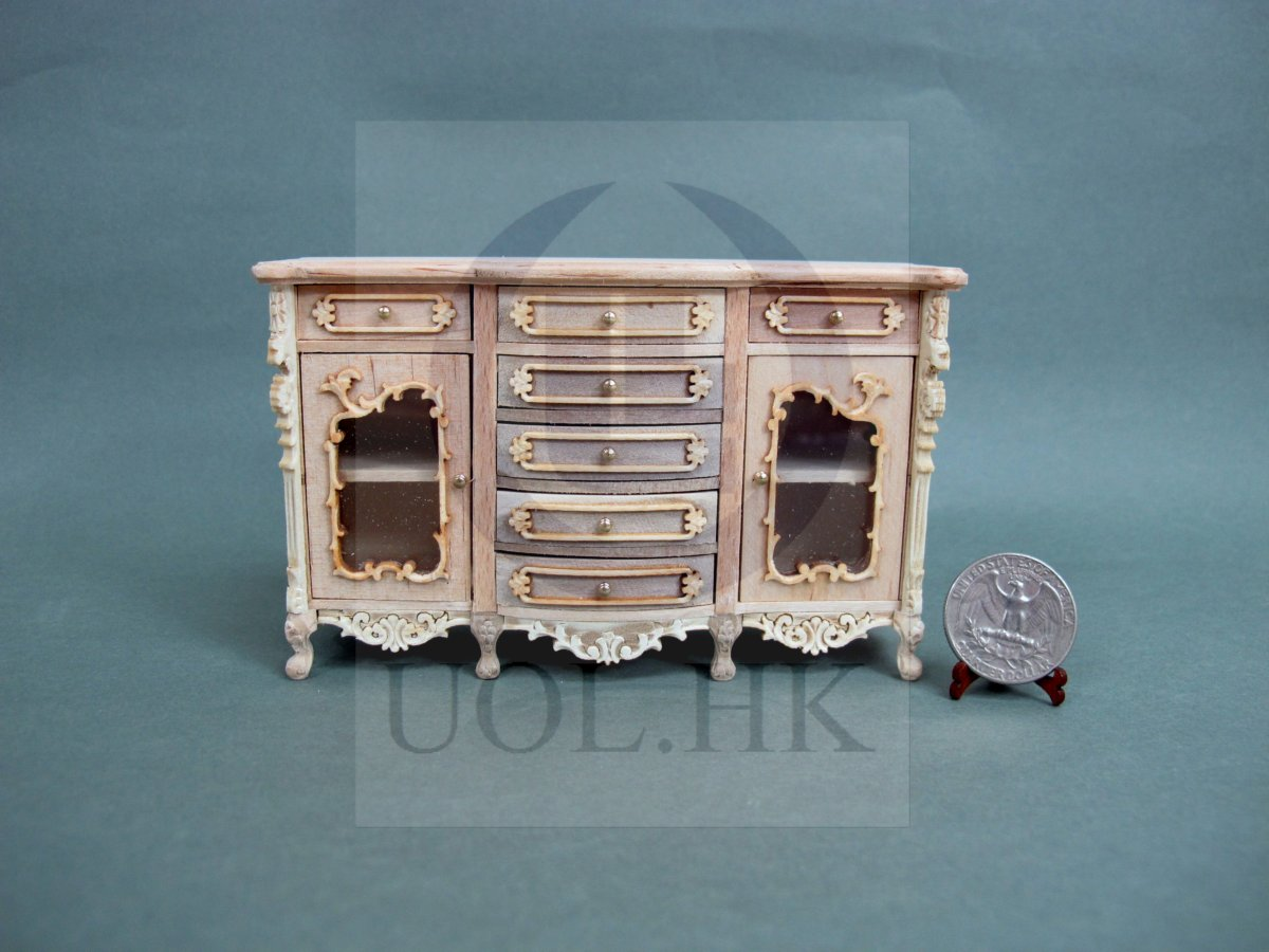 Miniature 1:12 Scale  Serpentine Side Board For Doll House [UF]