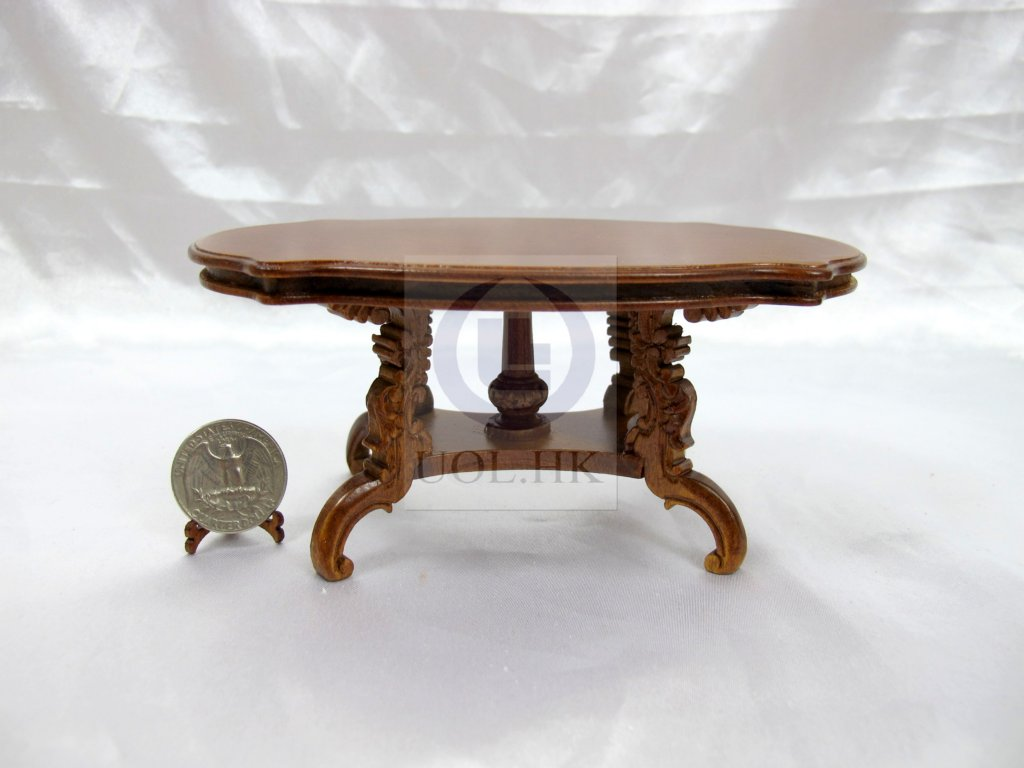 "Dollhouse 1"" Scale Wooden Carved Dining Table[Finished In Walnut"