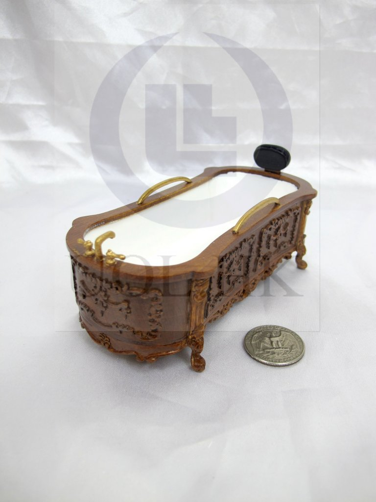 Miniature 1:12 Scale Doll House Victorian Carved Bath Tub[WN]