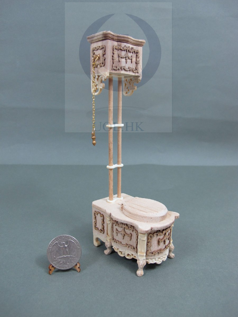 Dollhouse 1:12 Scale Victorian High Water Tank Toilet-Unfinished