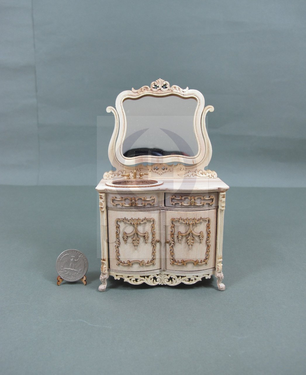 1:12 Scale Miniature Bathroom Vanity For Doll House[Unfinished]