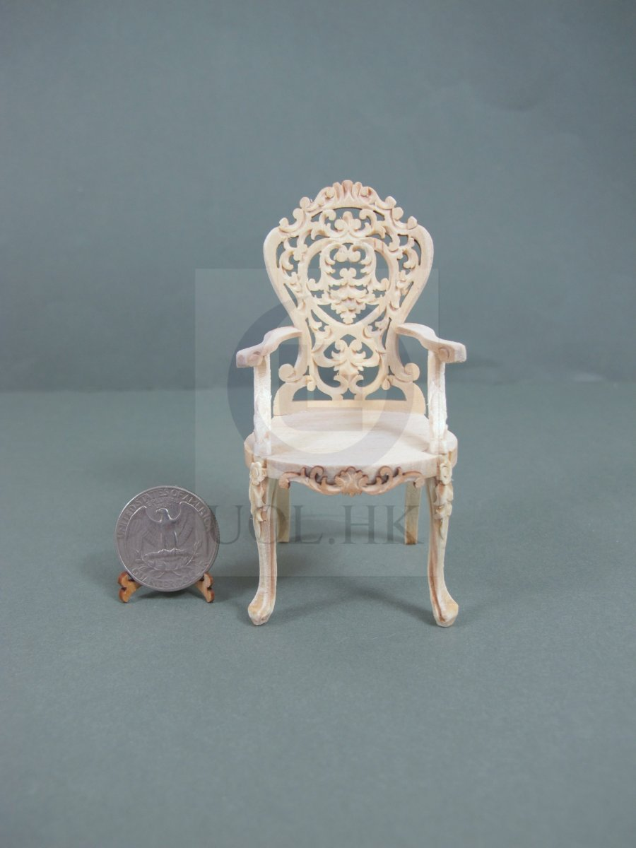 1:12 Scale Doll House Victorian Carved Arm Chair [Unfinished]