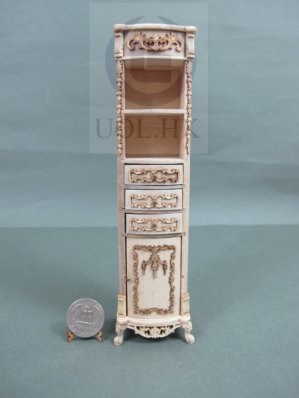 1:12 Scale Victorian Style High Cabinet For Dollhouse-Unfinished