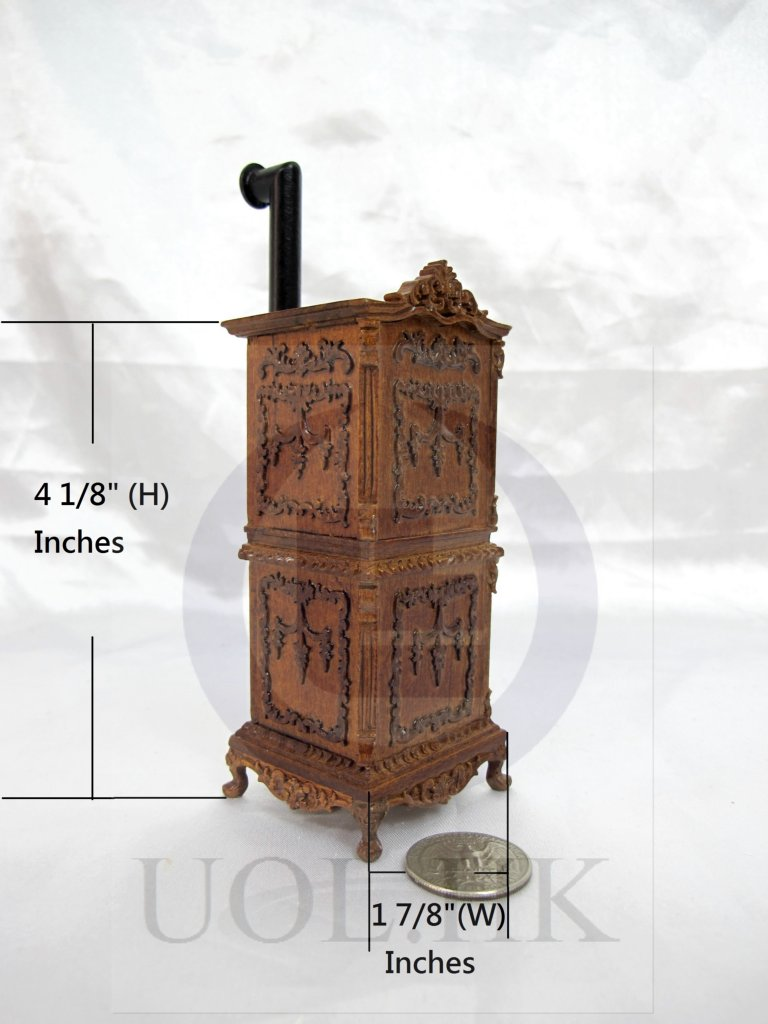 Miniature 1:12 Scale Victorian Carved Stove For Doll House