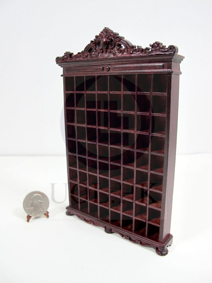 1:12 Scale Miniature Doll House Shaving Mug Cupboard [Mahogany]