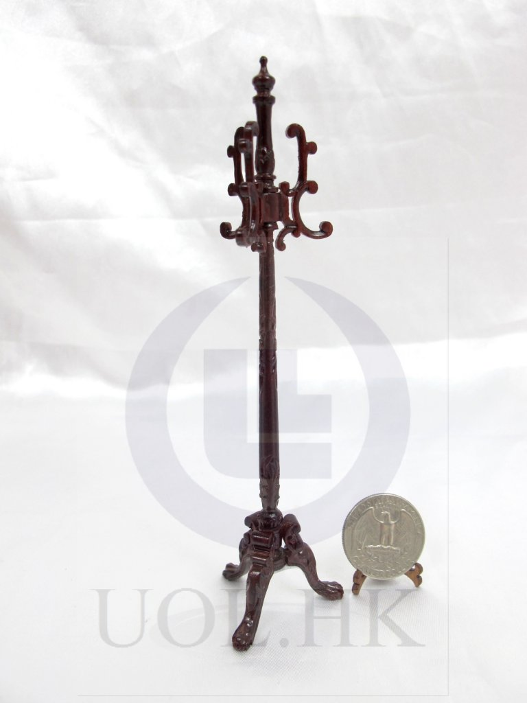 1:12 Scale Miniature Carved Coat Stand For Doll House[Mahogany]