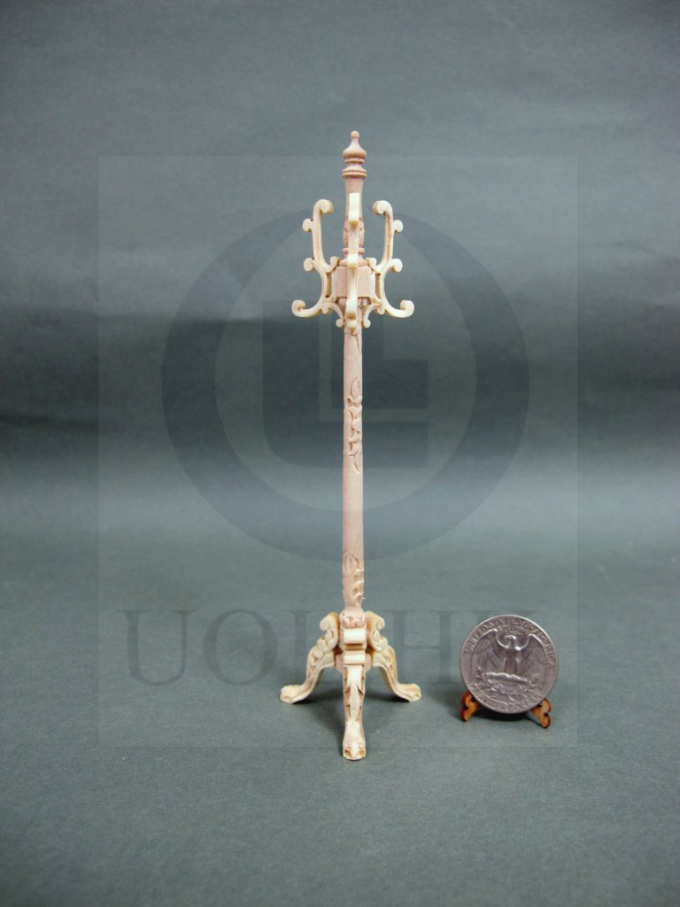 1:12 Scale Miniature Carved Coat Stand For Doll House[Unpainted]