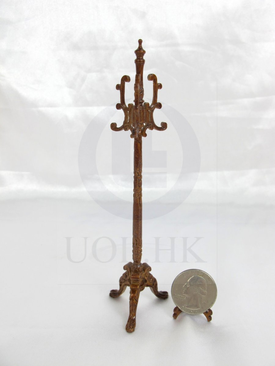 1:12 Scale Miniature Carved Coat Stand For Doll House[Walnut]
