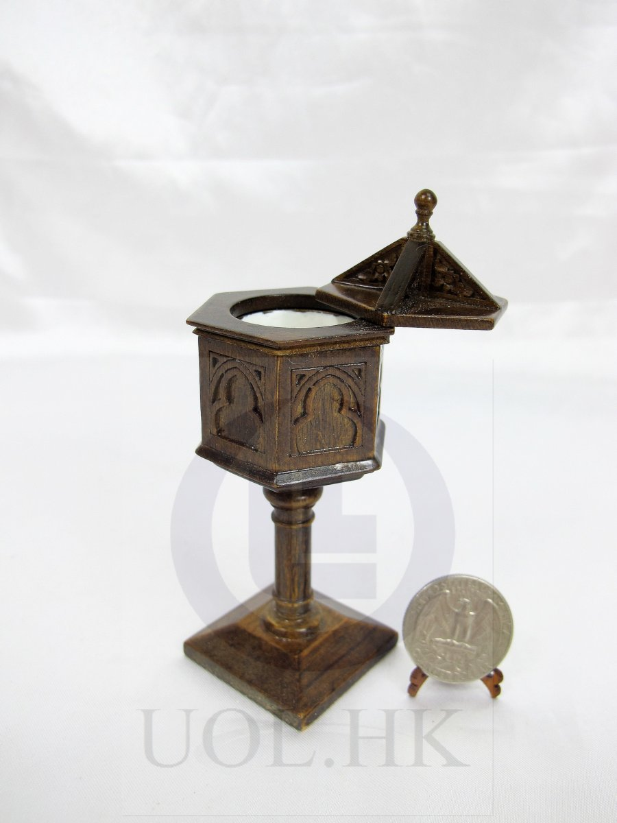 Miniature 1:12 Scale Baptism Stand For Doll House[Dark Walnut]