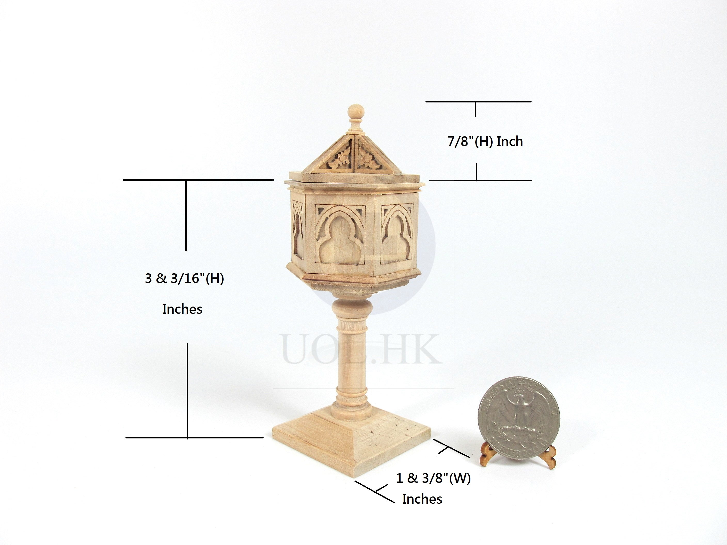 Miniature 1:12 Scale Baptismal Font For Doll House [Unfinished]