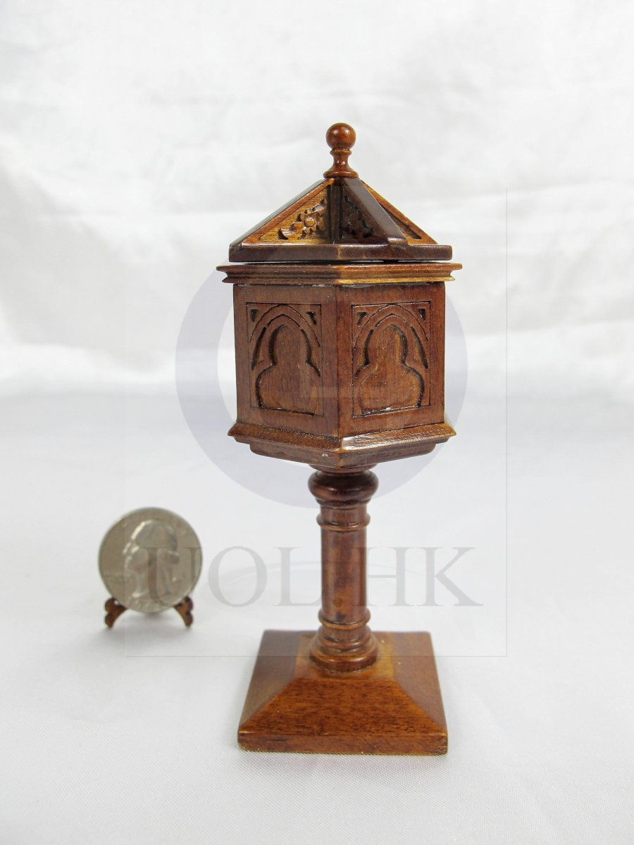 Miniature 1:12 Scale Baptismal Font For Doll House [Walnut]