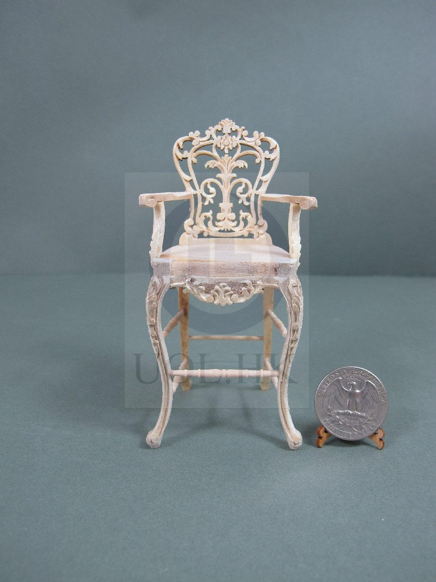 Miniature 1:12 Scale Carved Bar Stool For Doll House[Unfinished]