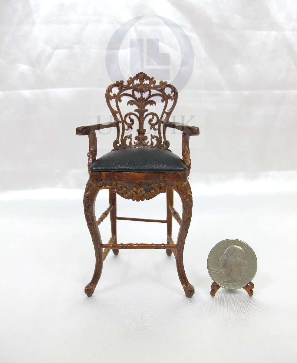 Miniature 1:12 Scale Carved Bar Stool For Doll House