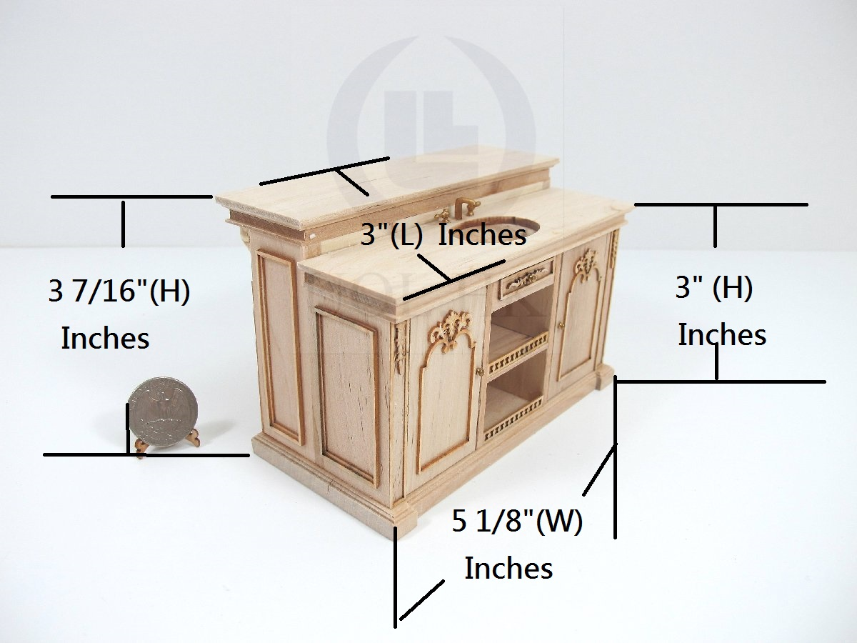 Miniature 1:12 Scale French Provincial Sink Kitchen Island [UF]