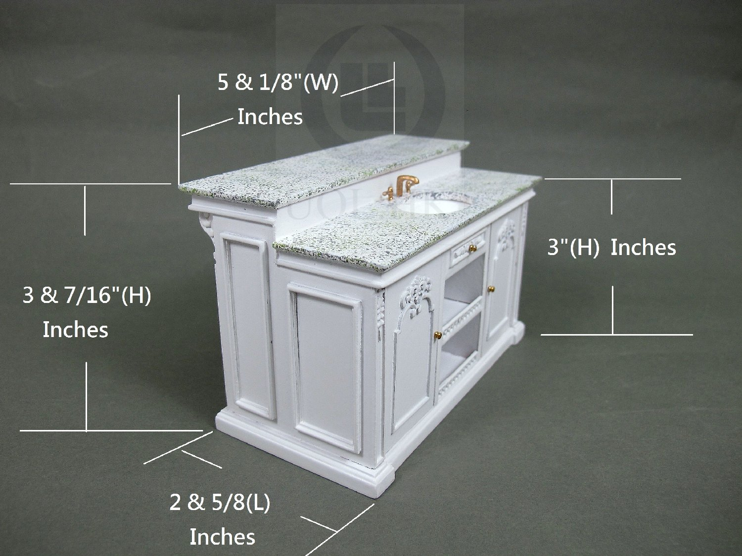 Miniature 1:12 Scale French Provincial Sink Kitchen Island-White