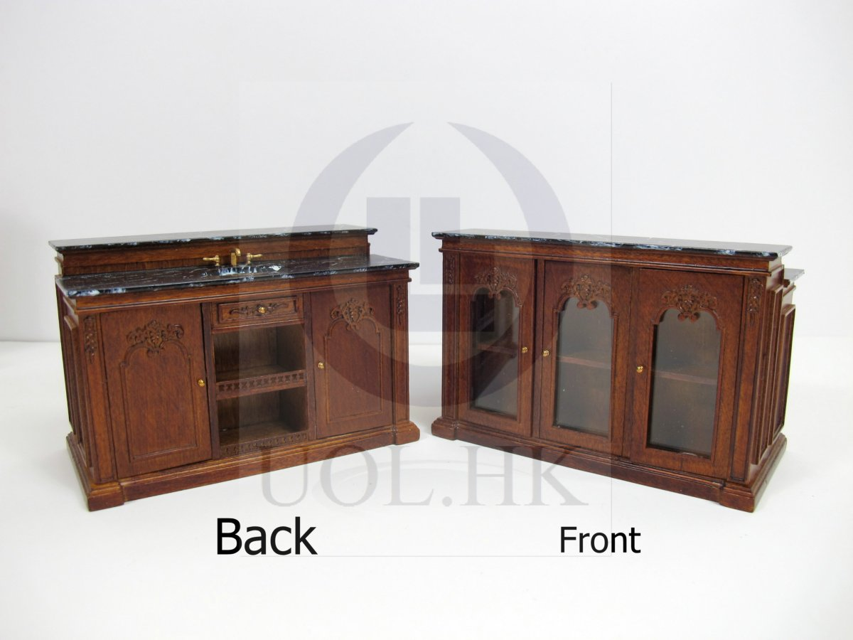 Miniature 1:12 Scale French Provincial Sink Kitchen Island [WN]