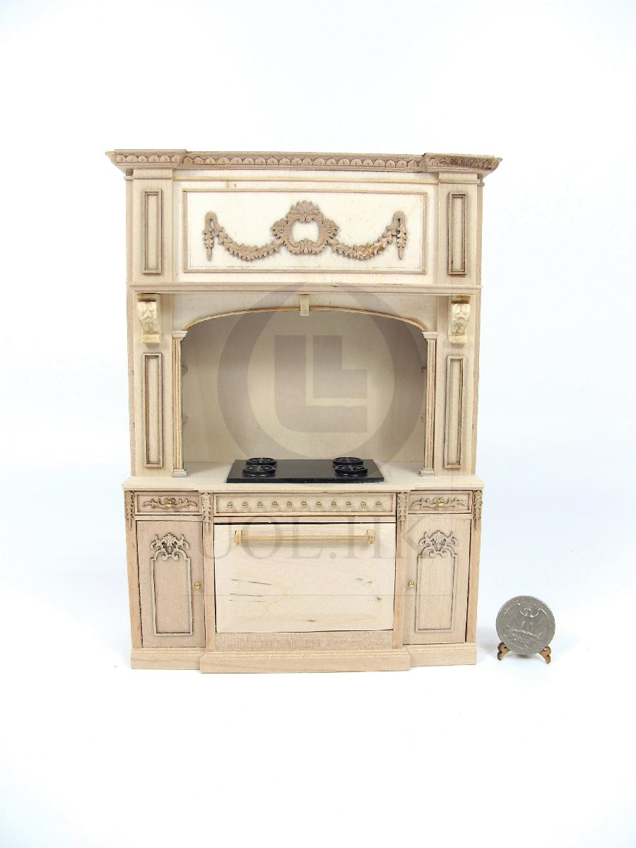 1:12 Scale French Provincial Glamorous Stove Cabinet-Unpainted