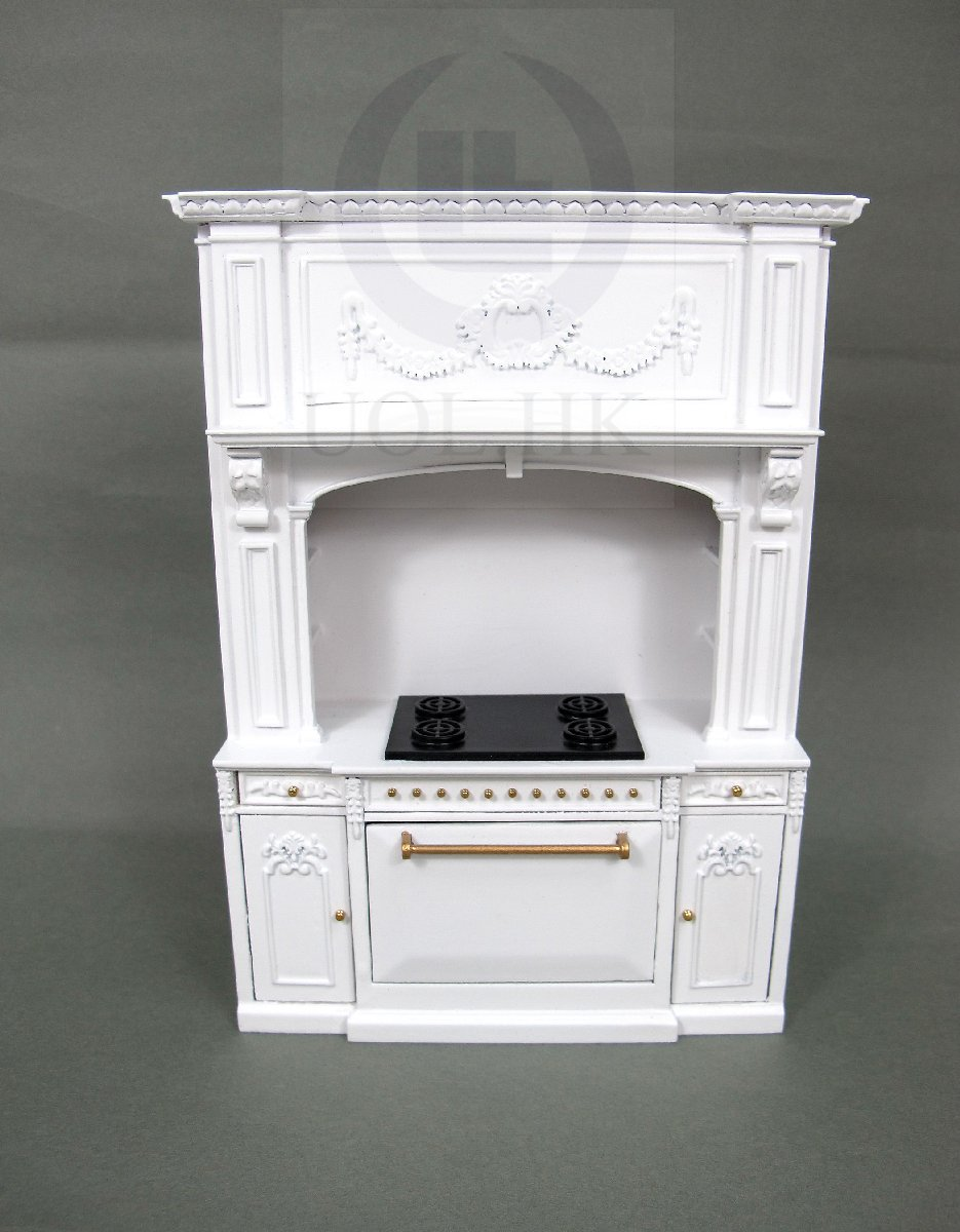 1:12 Scale French Provincial Glamorous Stove Cabinet [White]