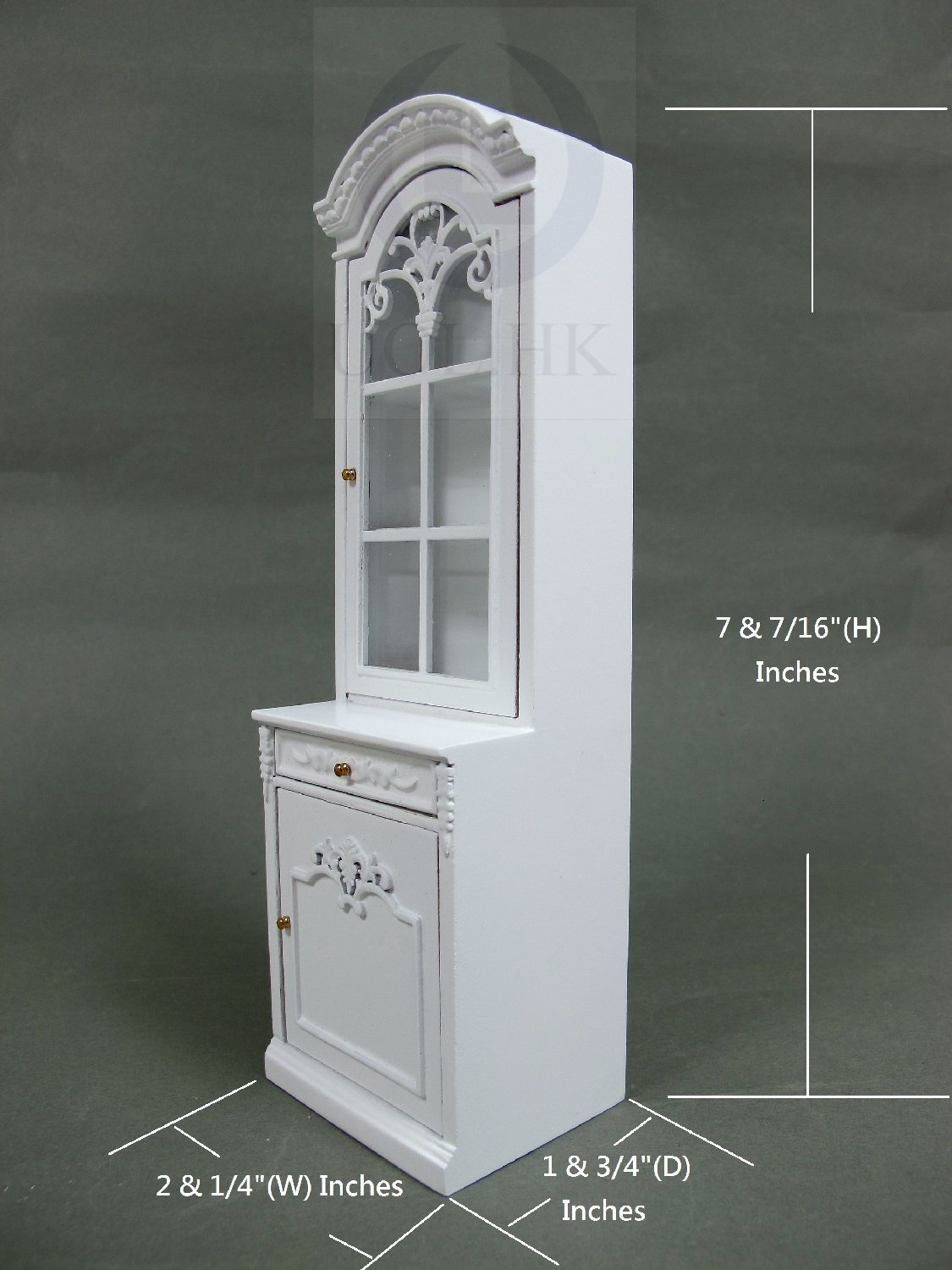 1:12 Scale Left Opened French Provincial Display Cabinet-White