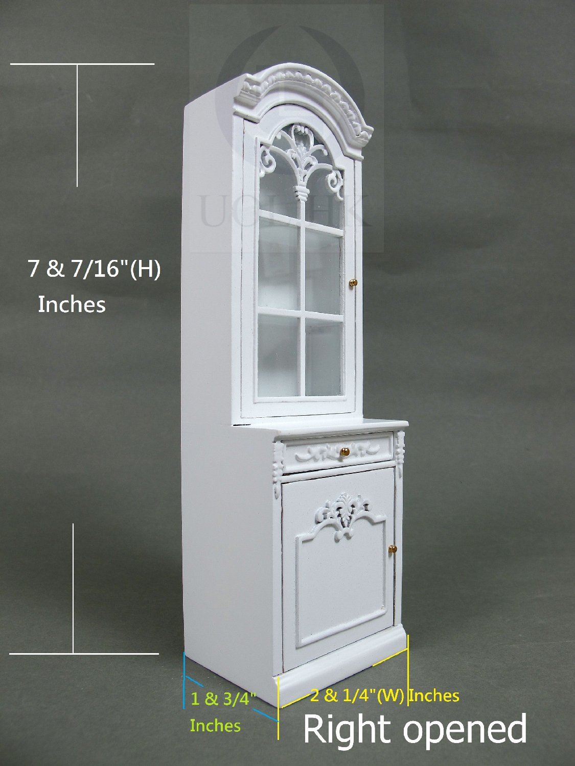 1:12 Scale Right Opened French Provincial Display Cabinet-White