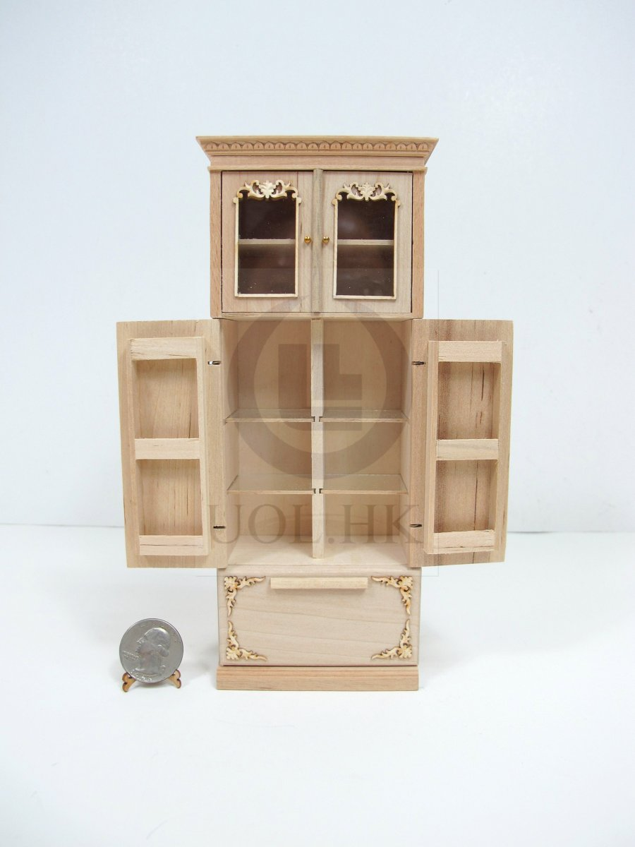 1:12 Scale Miniature French Provincial Fridge Cabinet[Unpainted]