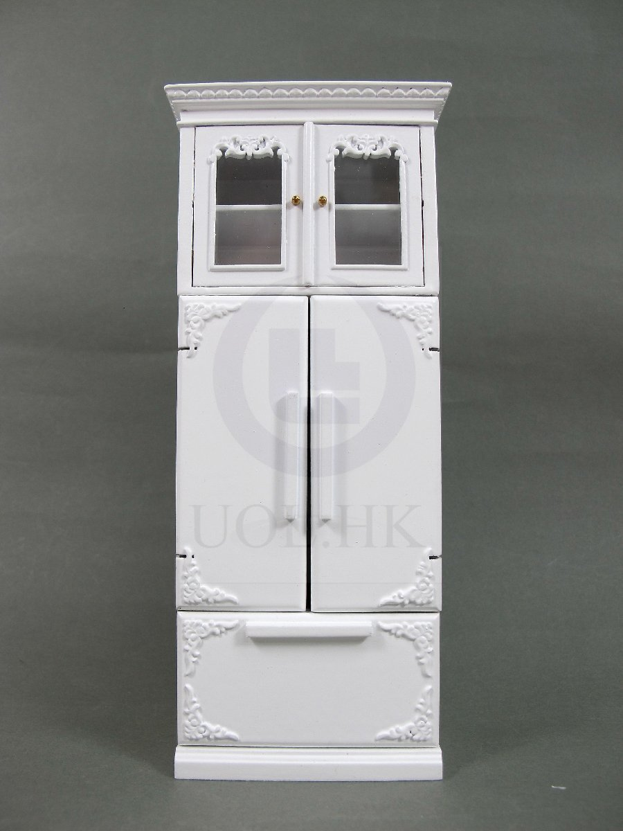 1:12 Scale French Provincial Fridge Cabinet For Doll House-White