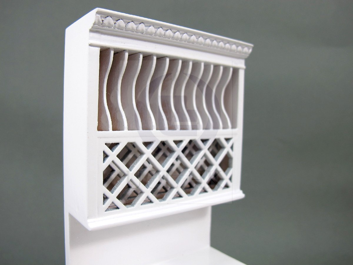 1:12 Scale Miniature French Provincial Plate Rack Cabinet [W]