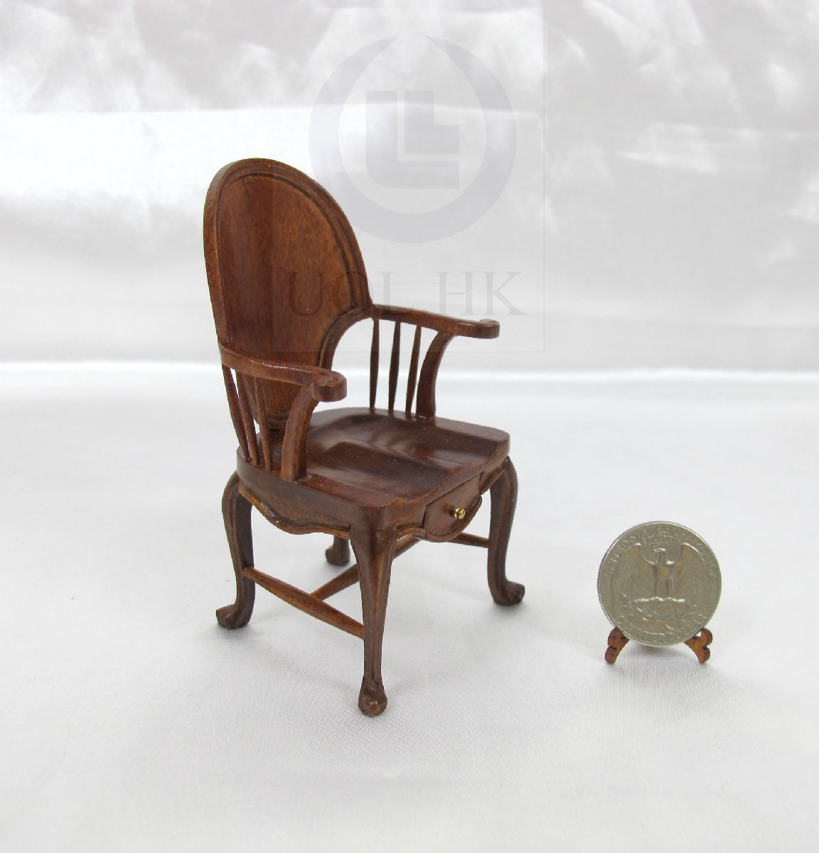 Doll House 1:12 Scale Miniature Windsor Chair With Drawer [wn]