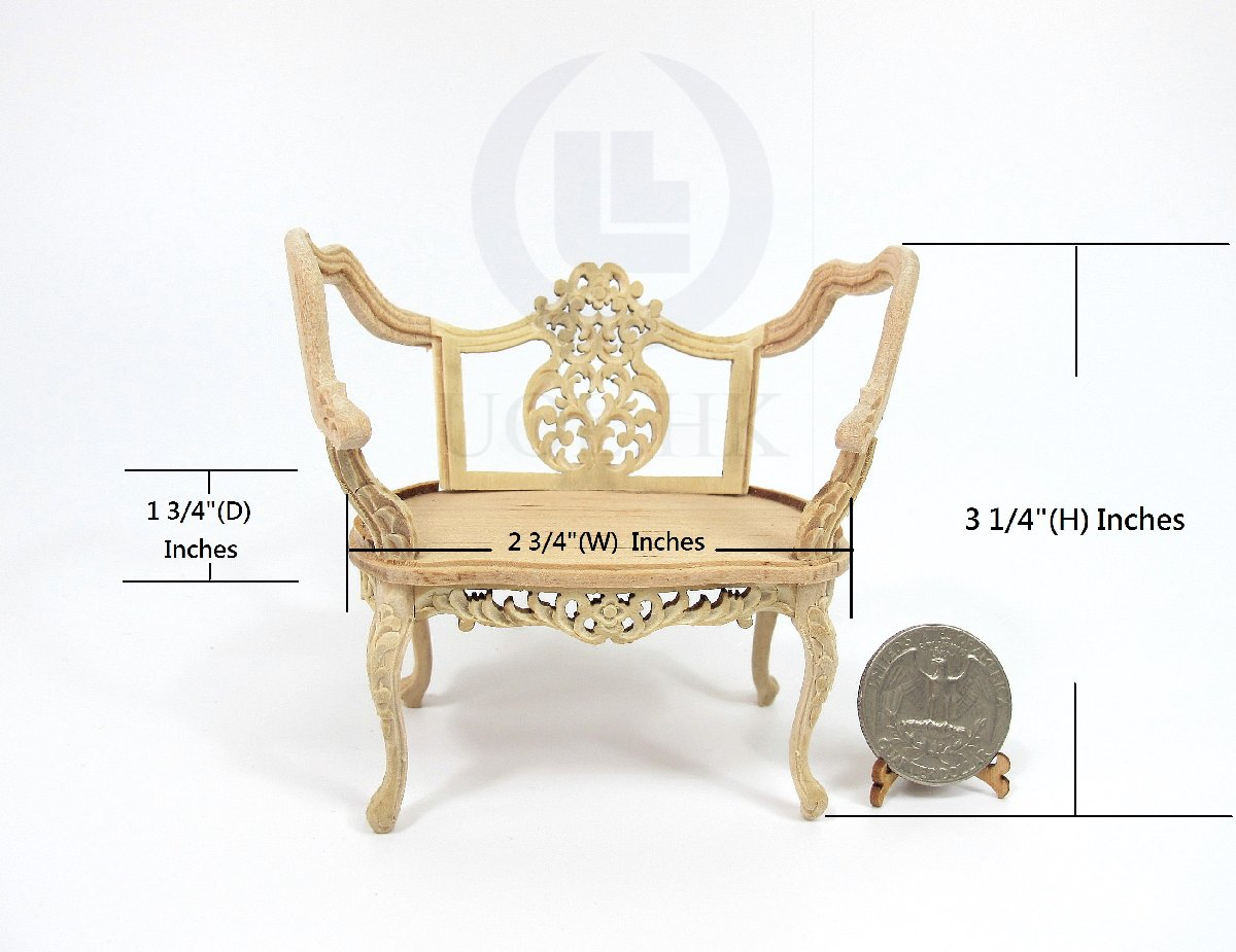 Miniature 1:12 Scale Opulent Vintage Bench Frame For Doll House