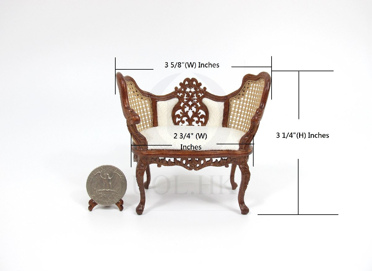 Miniature 1:12 Scale Opulent Vintage Banquette For Doll House