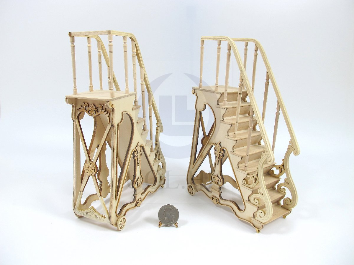 Miniature 1:12 Scale Napoleon III's Library Ladder-Unfinished
