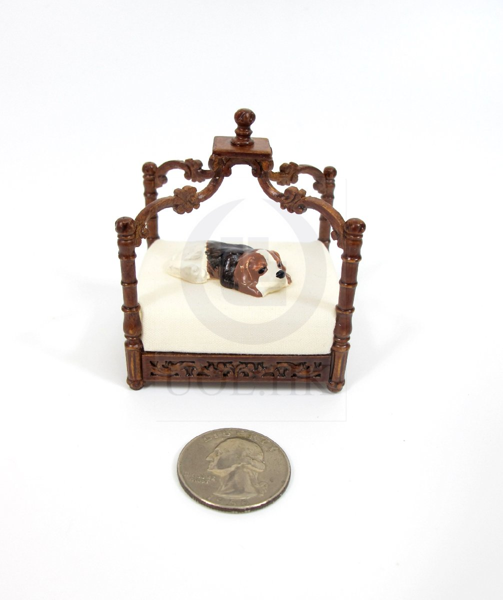 Miniature 1:12 Scale Pet Bed for Doll House [Finished in walnut]