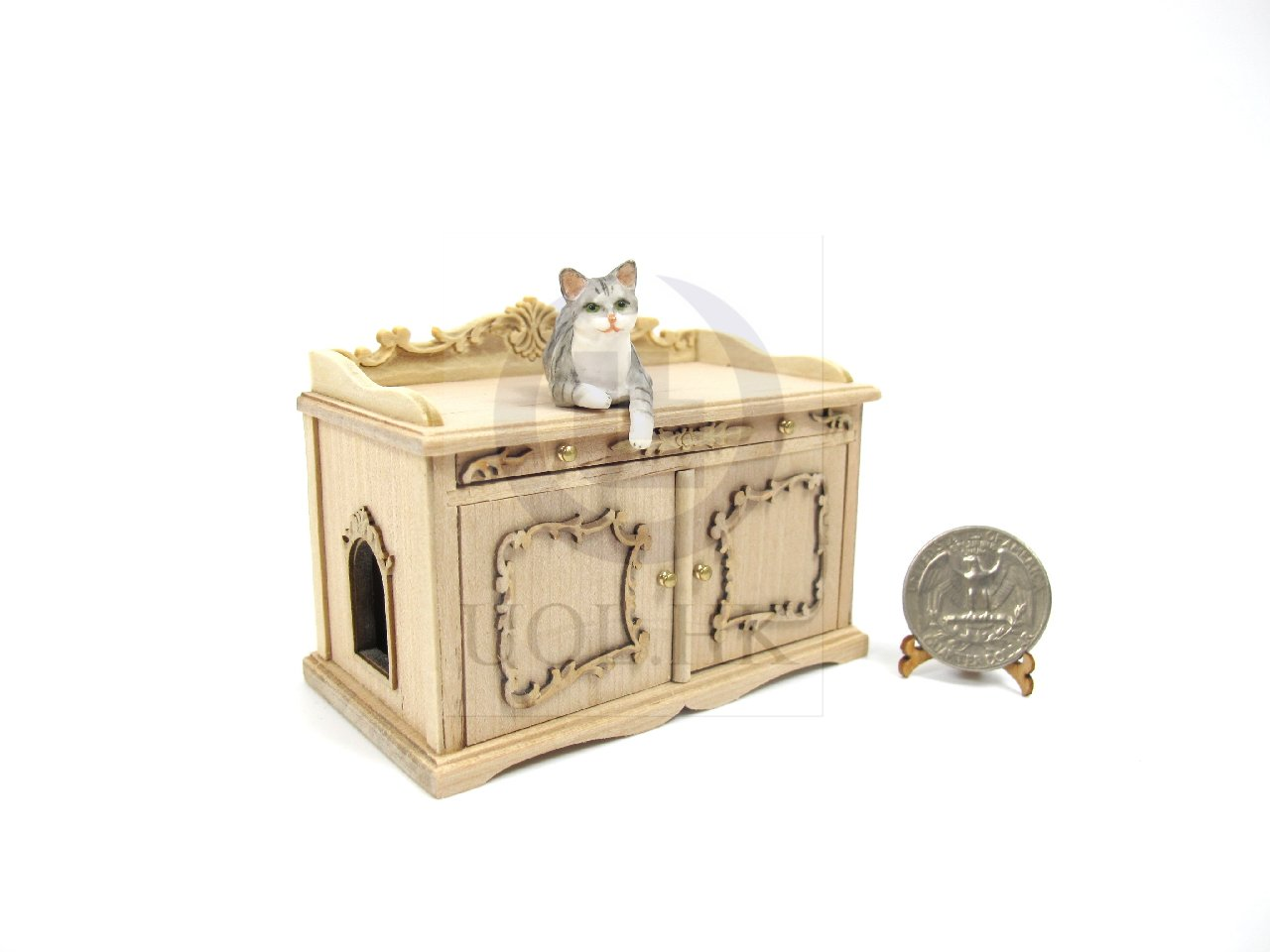 1:12 Scale Cat Litter Box Cover and Cabinet For Doll House[UF]